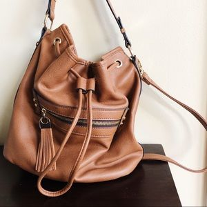 Cute Brown Pleather Pull Bag